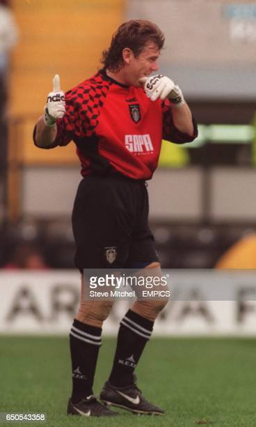 Notts County's on loan goalkeeper Andy Goram gives a thumbs up during the game against Wigan Athletic