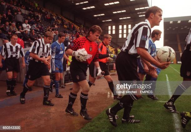 Notts County's on loan goalkeeper Andy Goram walks out to play at 255pm against Wigan Athletic