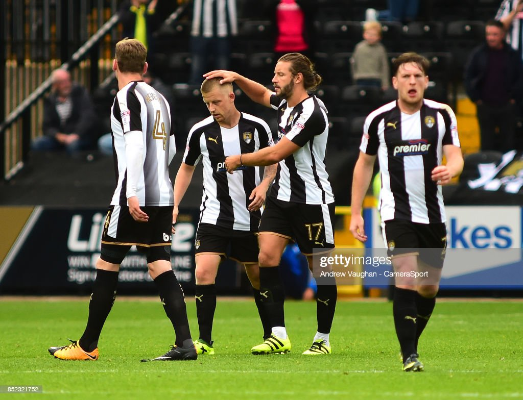 Notts County's Terry Hawkridge celebrates scoring his sides fourth goal during the Sky Bet League Two match between Notts County and Lincoln City at Meadow Lane on September 23, 2017 in Nottingham, England.