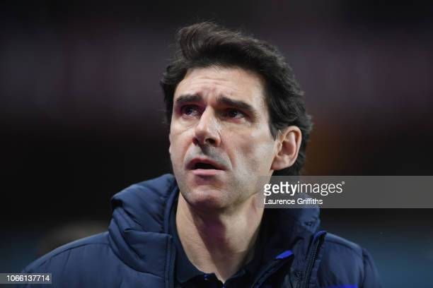 Notts Forest manager Aitor Karanka looks on during the Sky Bet Championship match between Aston Villa and Nottingham Forest at Villa Park on November...