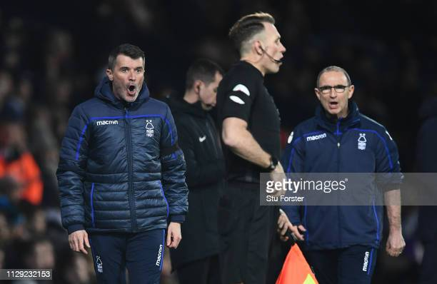 Notts Forest manager Martin O' Neill and assistant Roy Keane have choice words with the referee's assistant on the touchline during the Sky Bet...