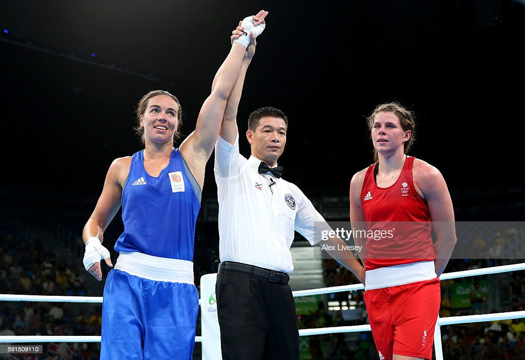 Nouchka Fontijn of the Netherlands celebrates after defeating Savannah Marshall of Great Britain by points in the Women's Middleweight Quartefinal bout during Day 12 of the Rio 2016 Olympic Games at Riocentro - Pavilion 6 on August 17, 2016 in Rio de Janeiro, Brazil.