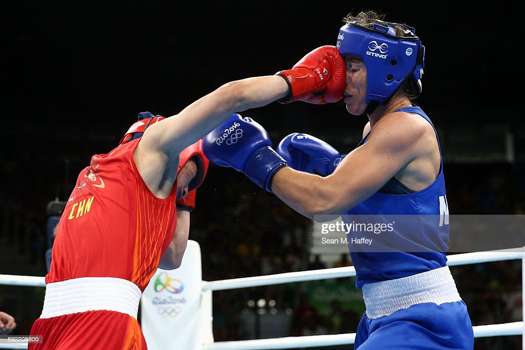 Nouchka Fontijn of the Netherlands fights Qian Li of China in the Women's Middle Semifinal 2 on Day 14 of the Rio 2016 Olympic Games at the Riocentro arena on August 19, 2016 in Rio de Janeiro, Brazil.