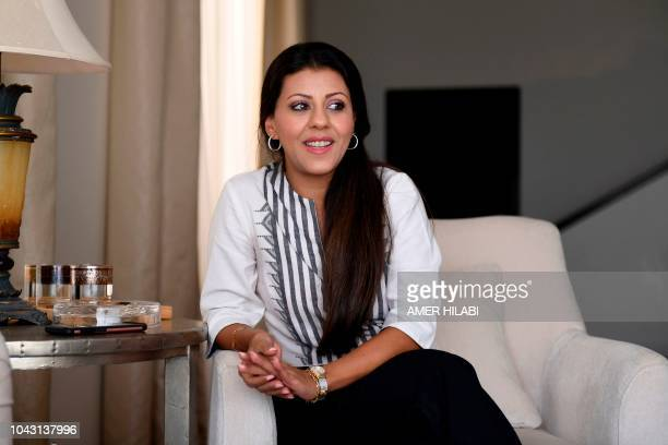 Nouf Marwaai the head of the Arab Yoga Foundation smiles as she poses in the western Saudi Arabian city of Jeddah on September 7 2018 Widely...