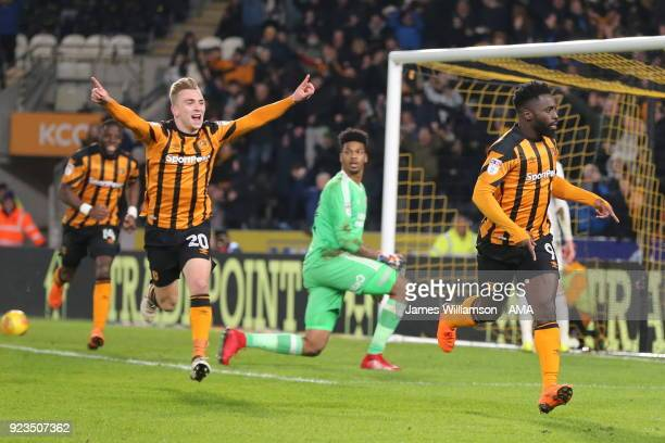 Nouha Dicko of Hull City celebrates after scoring a goal to make it 10 during the Sky Bet Championship match between Hull City and Sheffield United...
