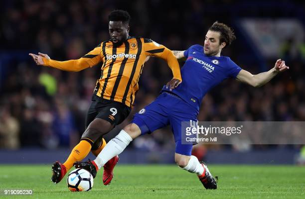 Nouha Dicko of Hull is tackled by Cesc Fabregas of Chelsea during The Emirates FA Cup Fifth Round match between Chelsea and Hull City at Stamford...