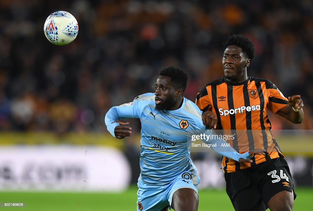 Nouha Dicko of Wolverhampton Wanderers and Ola Aina of Hull City during the Sky Bet Championship match between Hull City and Wolverhampton at KCOM Stadium on August 15, 2017 in Hull, England.
