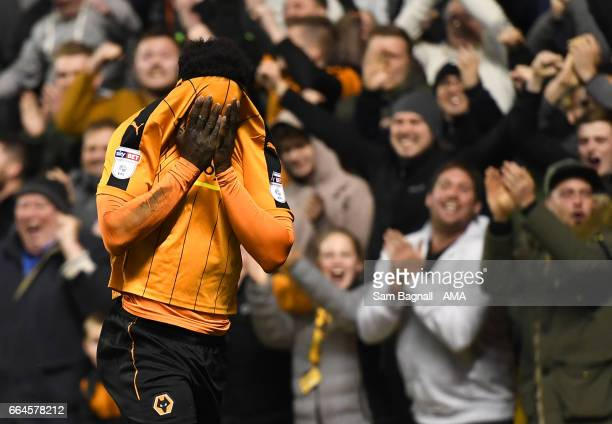 Nouha Dicko of Wolverhampton Wanderers celebrates after scoring a goal to make it 1-0 during the Sky Bet Championship match between Wolverhampton...