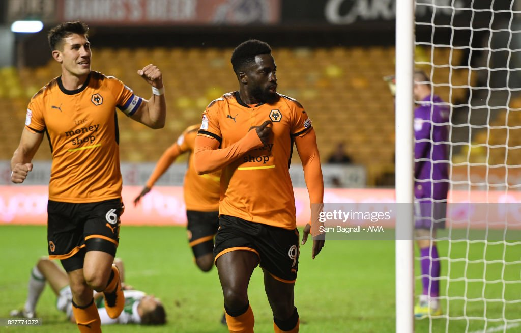 Nouha Dicko of Wolverhampton Wanderers celebrates after scoring a goal to make it 1-0olverhampton Wanderers and Yeovil Town at Molineux on August 8, 2017 in Wolverhampton, England.