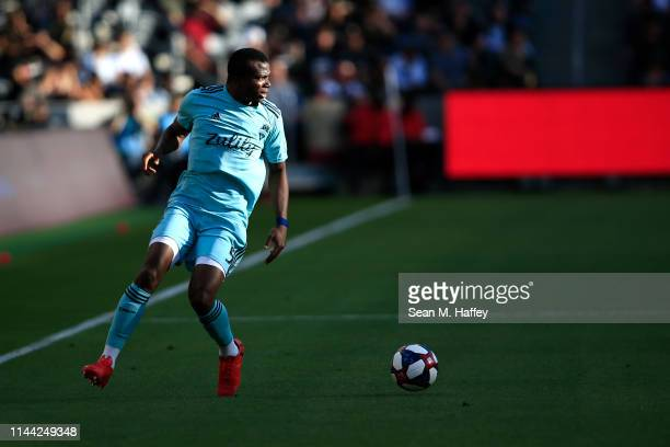 Nouhou Tolo of Seattle Sounders looks to pass during the second half of a game against the Los Angeles FCat Banc of California Stadium on April 21...