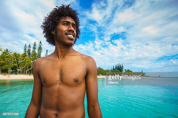 Noumea Beach New Caledonia Happy Smiling Pacific Islander