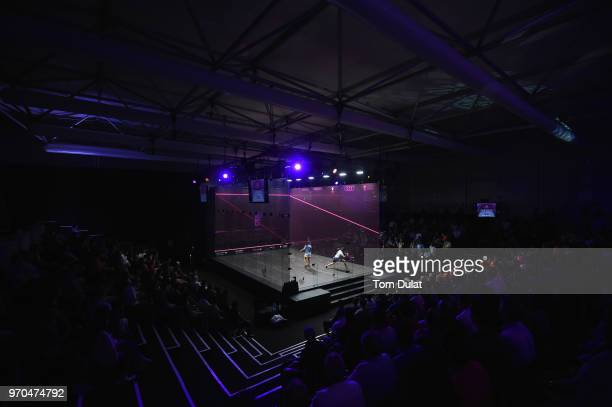 Nour El Sherbini of Egypt and compete Raneem El Welily of Egypt compete during the women's final match of the PSA Dubai World Series Finals 2018 at...