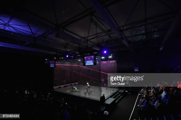 Nour El Sherbini of Egypt competes against Raneem El Welily of Egypt during the women's final match of the PSA Dubai World Series Finals 2018 at...