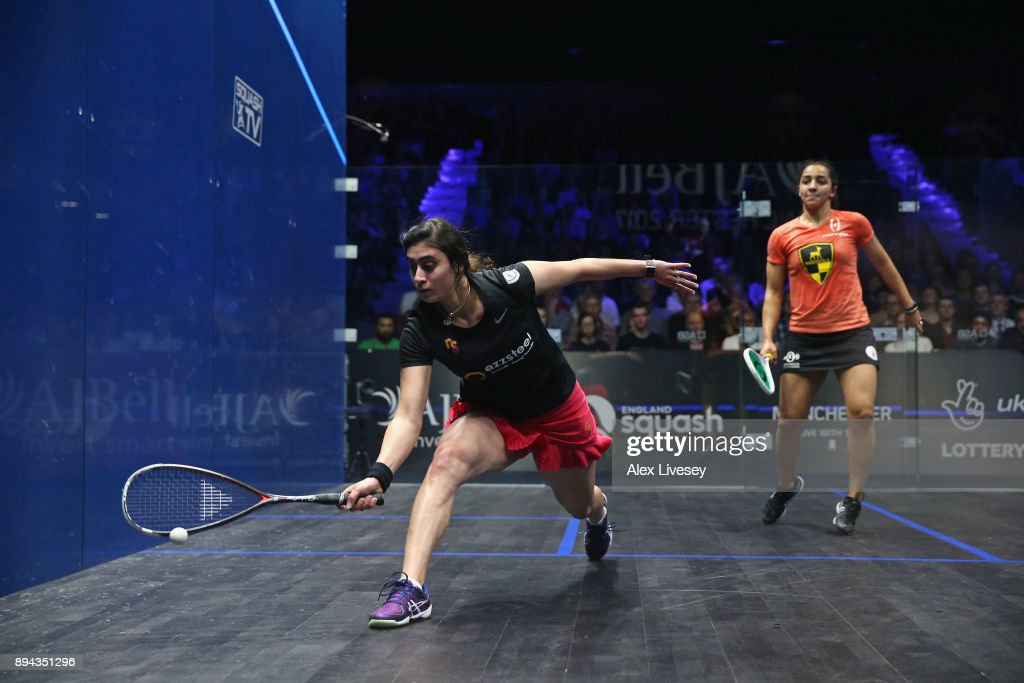 Nour El Sherbini of Egypt plays a forehand shot against Raneem El Welily of Egypt during the Women's Final in the AJ Bell PSA World Squash Championships at the Manchester Central Convention Complex on December 17, 2017 in Manchester, England.