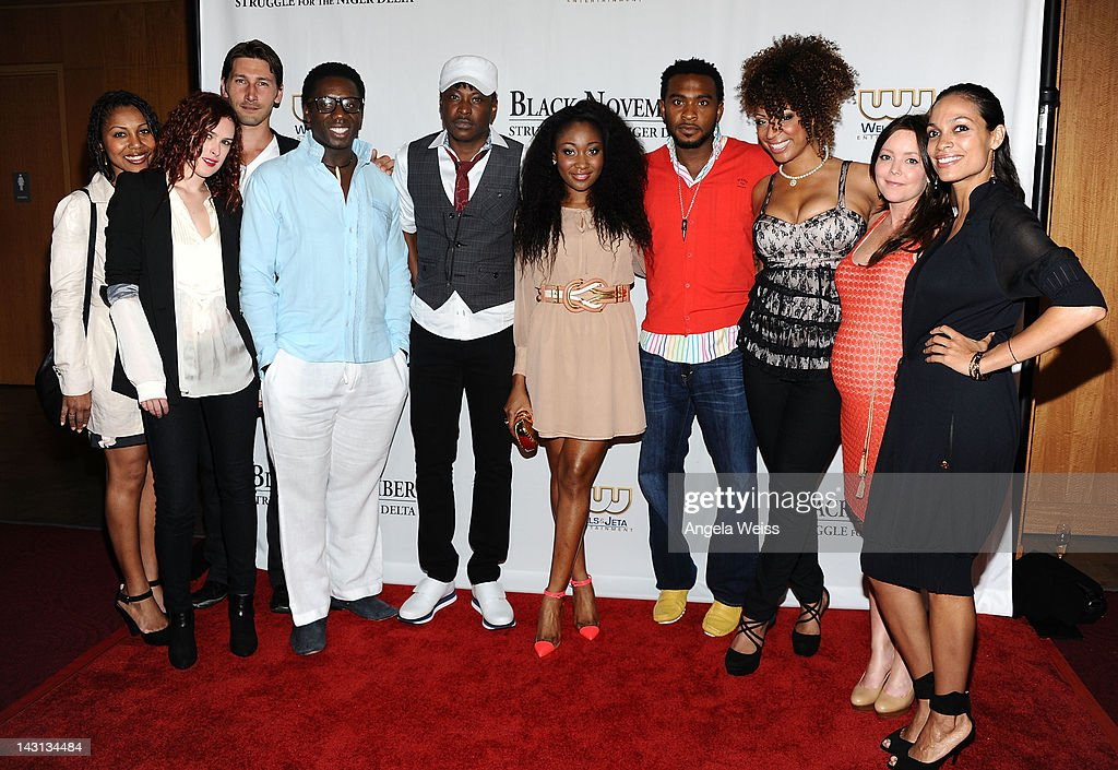 Noura, actress Rumer Willis, actor Joshua Smith, actor Hakeem Kae-Kazim, director Jeta Amata, Mbong Amata, actor Enyinna Nwigwe, Kem Anyanwu, producer Jenifer Brougham and actress Rosario Dawson attend the 'Black November' screening on April 18, 2012 in Beverly Hills, California.