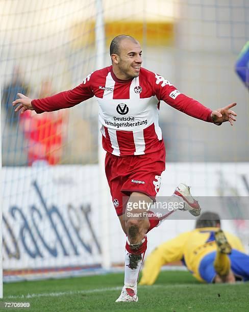 Noure Ddine Daham of Kaiserlautern celebrates scoring his goal during the Second Bundesliga match between Eintracht Braunschweig and 1FC...