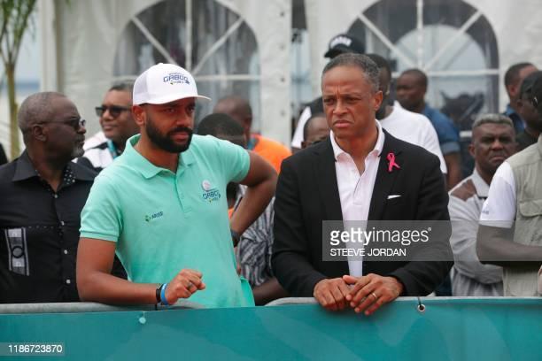 Noureddin Bongo Valentin , the eldest son of Gabonese President Ali Bongo Ondimb, and Frank Nguema , the Gabon Minister of Culture and Sport, speak...