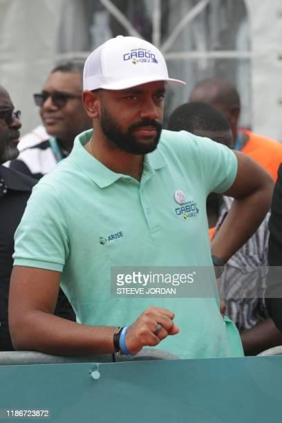 Noureddin Bongo Valentin , the eldest son of Gabonese President Ali Bongo Ondimb,attends the Gabon Marathon in Libreville on December 1, 2019. -...