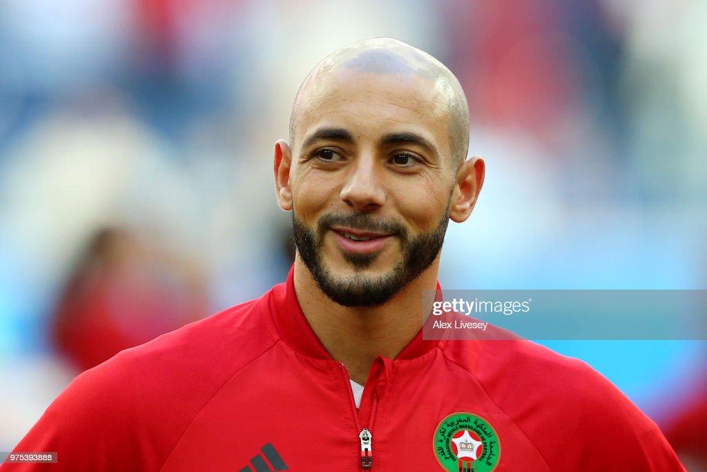 Noureddine Amrabat of Morocco looks on ahead of the 2018 FIFA World Cup Russia group B match between Morocco and Iran at Saint Petersburg Stadium on June 15, 2018 in Saint Petersburg, Russia.