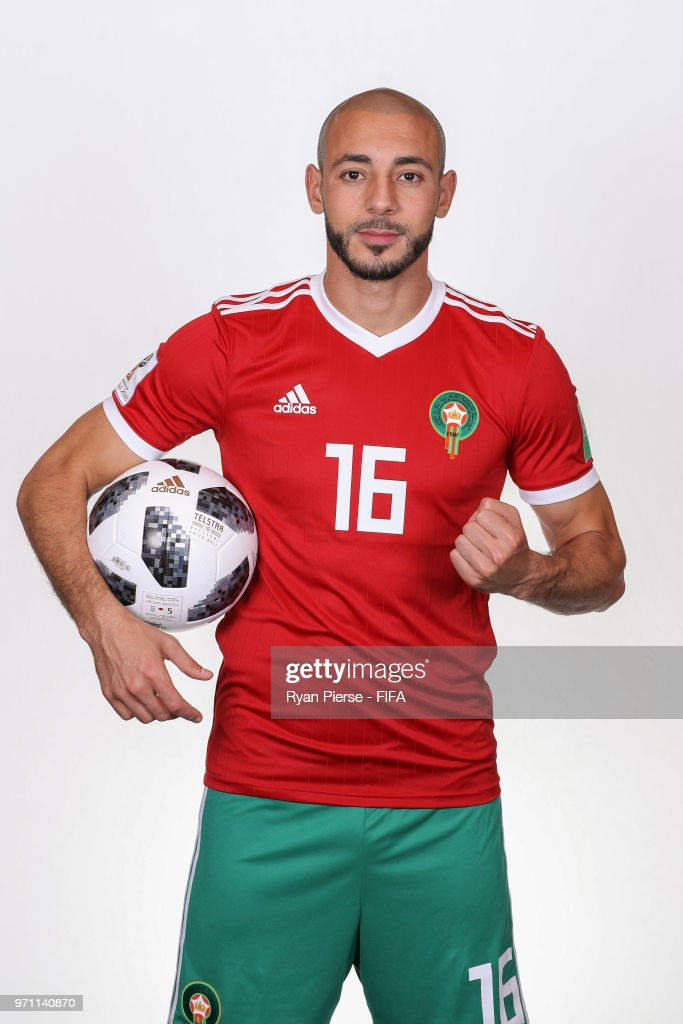 Noureddine Amrabat of Morocco poses during the official FIFA World Cup 2018 portrait session on June 10, 2018 in Voronezh, Russia.