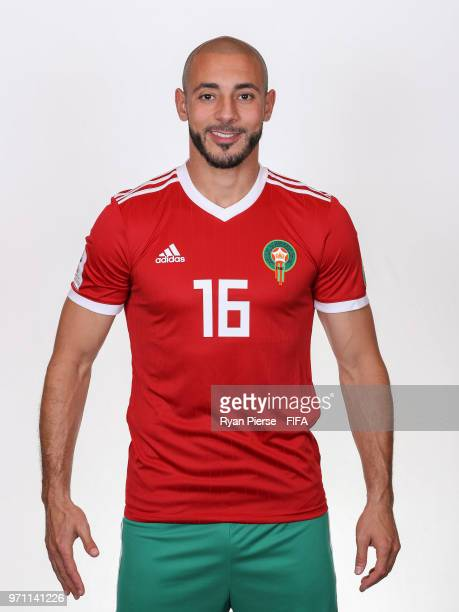 Noureddine Amrabat of Morocco poses during the official FIFA World Cup 2018 portrait session on June 10 2018 in Voronezh Russia