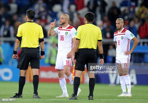 Noureddine Amrabat of Morocco reacts during the 2018 FIFA World Cup Russia group B match between Spain and Morocco at Kaliningrad Stadium on June 25...