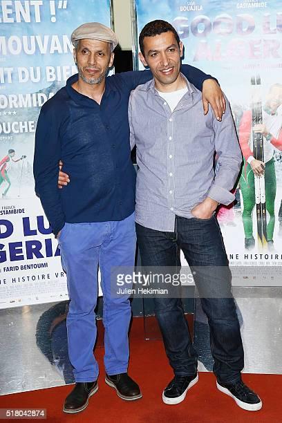 Noureddine Bentoumi and Sami Bouajila attend Good Luck Algeria Paris Premiere at UGC Cine Cite des Halles on March 29 2016 in Paris France