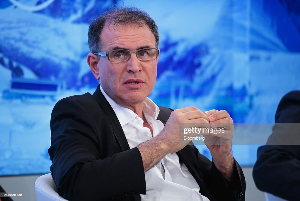 Nouriel Roubini, economist and chairman of Roubini Global Economics, LLC., gestures during a panel session at the World Economic Forum (WEF) in Davos, Switzerland, on Wednesday, Jan. 20, 2016. World leaders, influential executives, bankers and policy makers attend the 46th annual meeting of the World Economic Forum in Davos from Jan. 20 - 23. Photographer: Jason Alden/Bloomberg via Getty Images