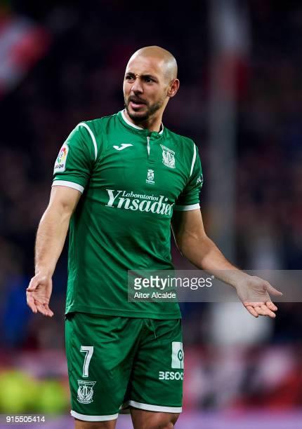 Nourredine Amrabat of CD Leganes reacts during the Copa del Rey semifinal second leg match between Sevilla FC and CD Leganes at Estadio Ramon Sanchez...