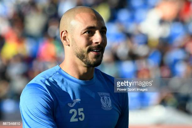Nourredine Amrabat of CD Leganes reacts in training prior to the La Liga 201718 match between CD Leganes vs FC Barcelona at Estadio Municipal...