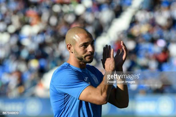 Nourredine Amrabat of CD Leganes reacts in training prior to the La Liga 201718 match between CD Leganes vs FC Barcelona at Estadio Municipal...