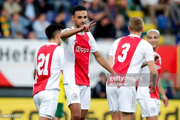 Noussair Mazraoui of Ajax celebrates after scoring his sides second goal during the Dutch Eredivisie match between Fortuna Sittard and Ajax at...