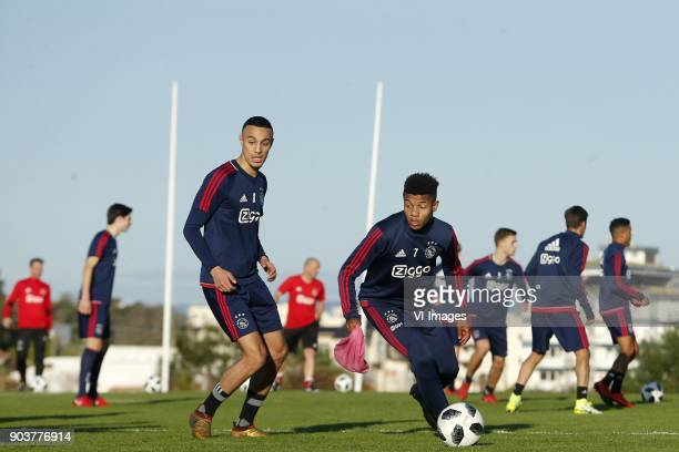 Noussair Mazraoui of Ajax David Neres of Ajax during a training session of Ajax Amsterdam at the Cascada Resort on January 08 2018 in Lagos Portugal
