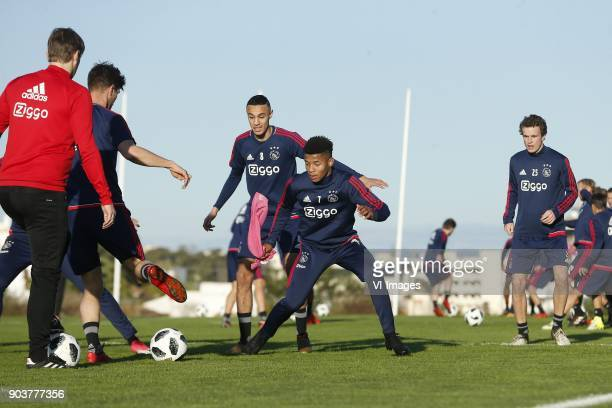 Noussair Mazraoui of Ajax David Neres of Ajax Leon Bergsma of Ajax during a training session of Ajax Amsterdam at the Cascada Resort on January 08...