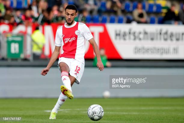 Noussair Mazraoui of Ajax during the Dutch Eredivisie match between Fortuna Sittard and Ajax at Fortuna Sittard Stadion on September 21, 2021 in...