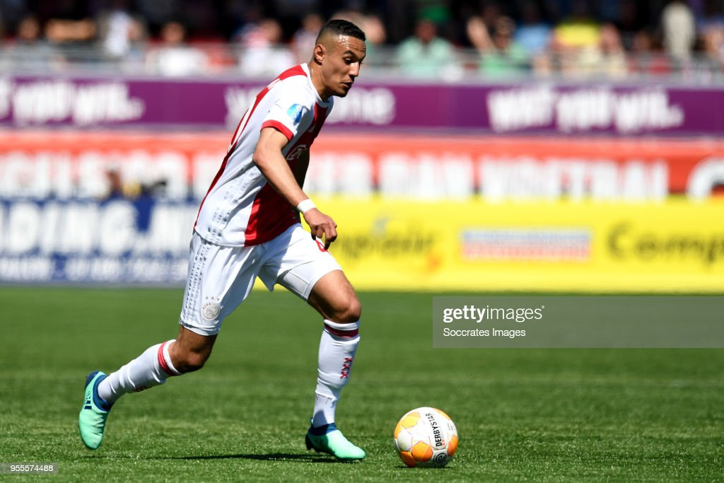 Noussair Mazraoui of Ajax during the Dutch Eredivisie match between Excelsior v Ajax at the Van Donge & De Roo Stadium on May 6, 2018 in Rotterdam Netherlands