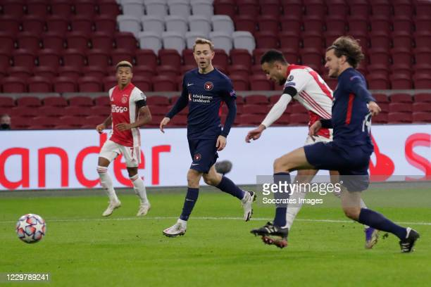 Noussair Mazraoui of Ajax scores the second goal to make it 2-0 during the UEFA Champions League match between Ajax v FC Midtjylland at the Johan...