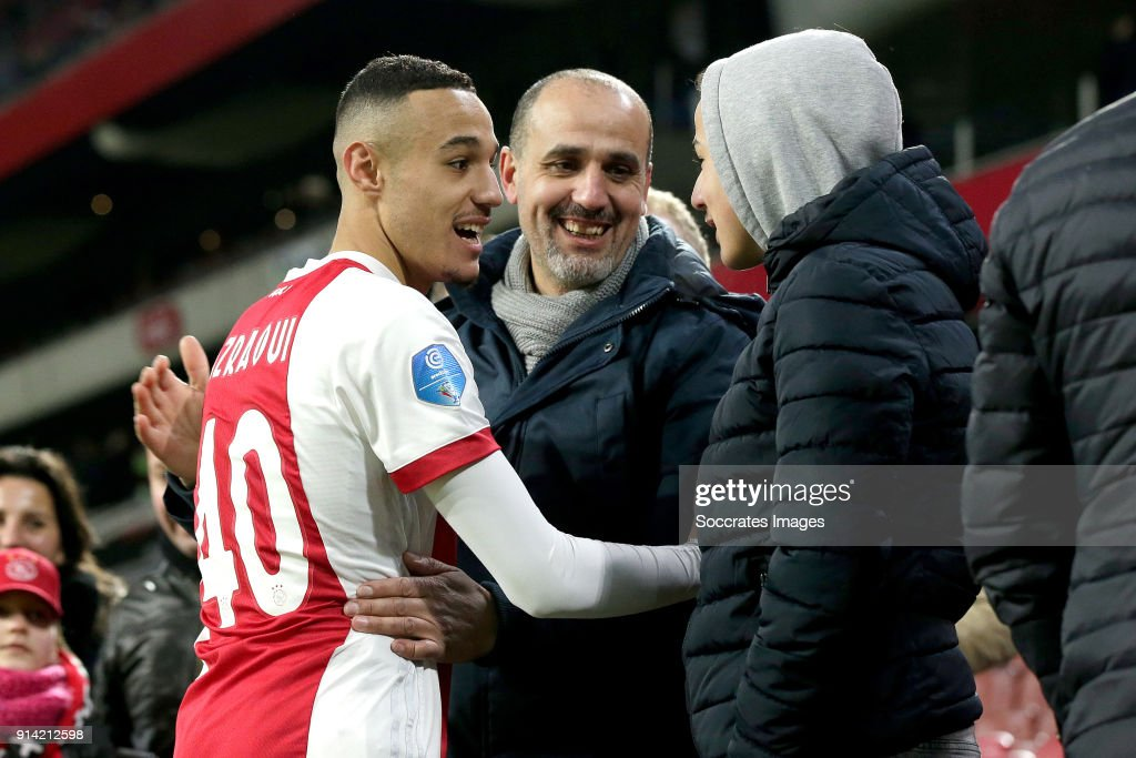 Noussair Mazraoui of Ajax with his family during the Dutch Eredivisie match between Ajax v NAC Breda at the Johan Cruijff Arena on February 4, 2018 in Amsterdam Netherlands