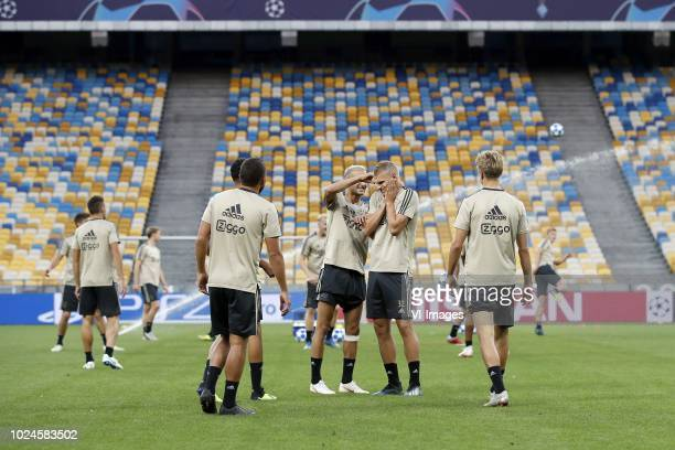 Noussair Mazraoui of Ajax, Zakaria Labyad of Ajax, Hakim Ziyech of Ajax, Vaclav Cerny of Ajax, Dani de Wit of Ajax, Dennis Johnsen of Ajax during a...