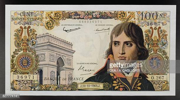 100 nouveaux francs banknote obverse Napoleon Bonaparte and the Arc de Triomphe in Paris France 20th century