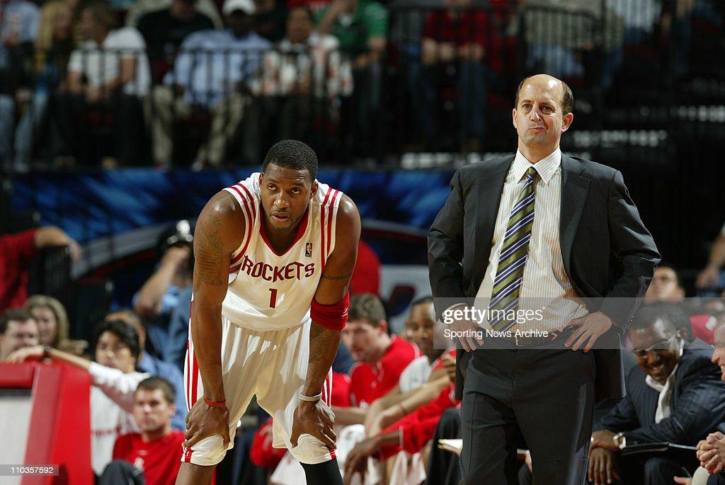 Nov 02, 2005; Houston, TX, USA; NBA Basketball: Coach Jeff Van Gundy and Tracy McGrady Sacramento Kings against the Houston Rockets on Wednesday, November 2, 2005 at Toyota Center in Houston, Texas. The Rockets beat the Kings 98-89.