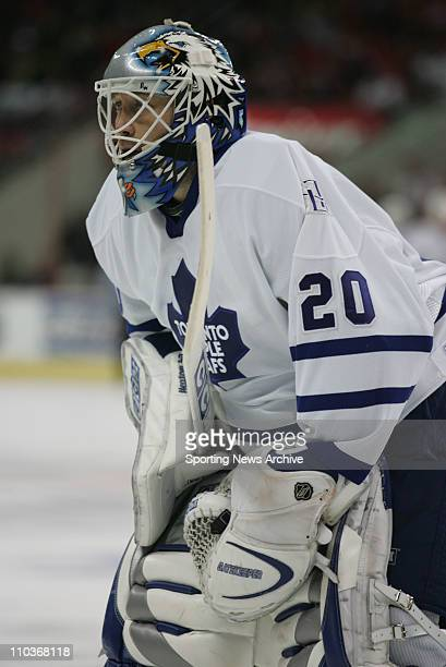 Nov 03 2005 Raleigh NC USA Toronto Maple Leafs ED BELFOUR against the Carolina Hurricanes on Nov 3 at the RBC Center in Raleigh NC The Hurricanes won...
