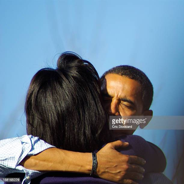 Pueblo, CO Obama Campaign Rally This photograph is special because it captures a personal moment between husband and wife, in front of a great...