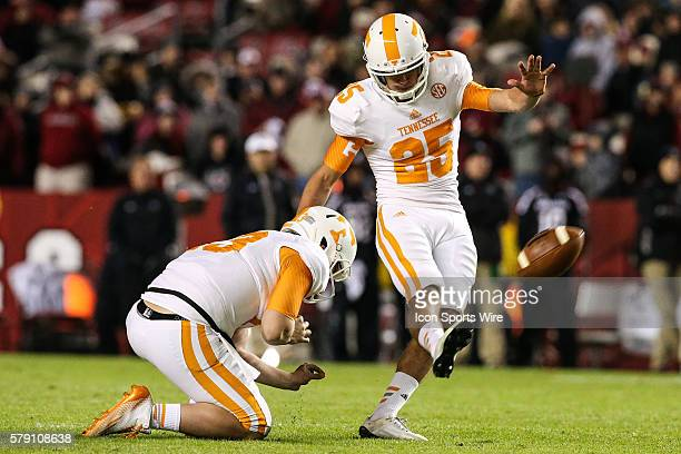 Tennessee Volunteers place kicker Aaron Medley tacks on the winning field goal during second half action between Tennessee and South Carolina at...