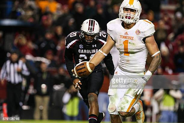 Tennessee Volunteers running back Jalen Hurd runs in for the late score as South Carolina Gamecocks safety TJ Gurley gives up the chase during second...
