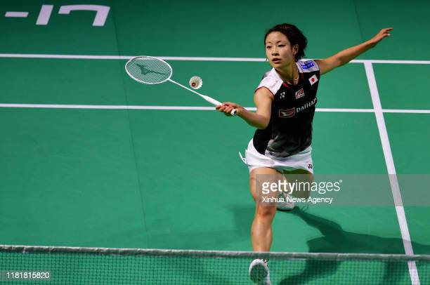 FUZHOU Nov 10 2019 Nozomi Okuhara of Japan returns a shot during the women's singles final match against Chen Yufei of China at the Fuzhou China Open...