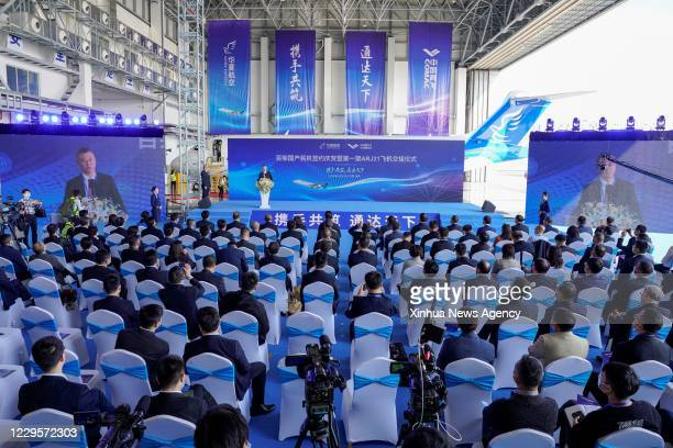 Nov. 10, 2020 -- Photo taken on Nov. 10, 2020 shows the ARJ21 jetliner delivery ceremony at the Chongqing Jiangbei International Airport in...