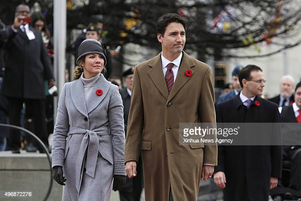 OTTAWA Nov 11 2015 Canada's Prime Minister Justin Trudeau and wife Sophie arrive at the annual Remembrance Day ceremony at the National War Memorial...
