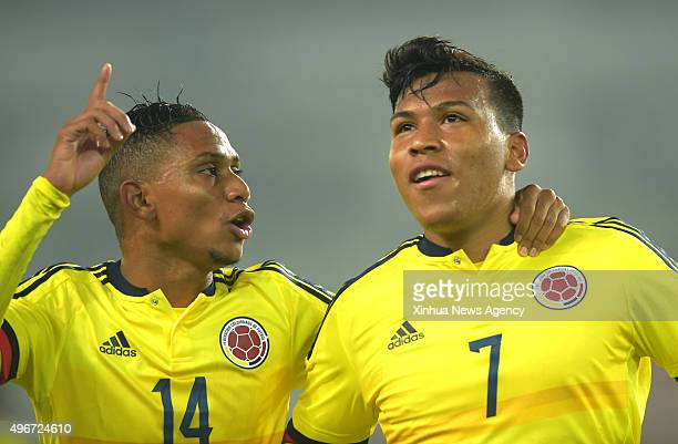 WUHAN Nov 11 2015 Colombia's Martinez Tobinson right celebrates after scoring with his teammate during the 2015 Wuhan U23 International Football...