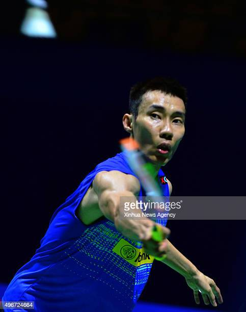 FUZHOU Nov 11 2015 Malaysia's Lee Chong Wei returns the shuttlecock during his men's singles first round match against Ng Ka Long Angus of China's...